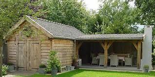 Afbeeldingsresultaat voor tuinhuis met overkapping