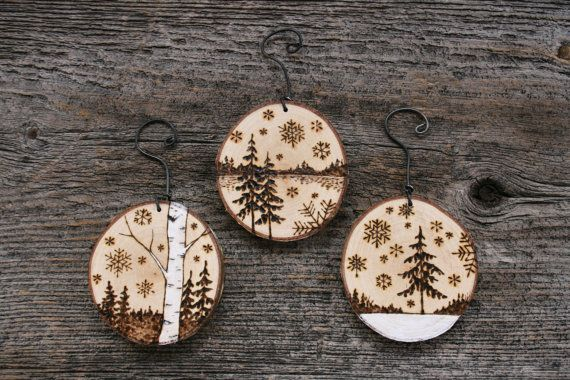 Rustic Wood Burned Tree Ornaments Set of 3 by TwigsandBlossoms