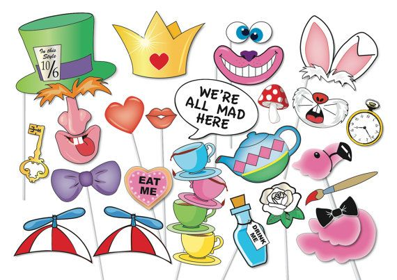 Mad Hatters Tea Party Photo booth Props Set 33 by TheQuirkyQuail