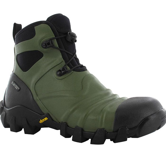 Hi-Tec Para Mud Snow Boot is a heavy duty warm neoprene insulated heavy duty boot with all the waterproof protection of a wellington, but with the added benefit of a proper walking boot fit and a genuine heavy mud and snow walking Vibram sole.