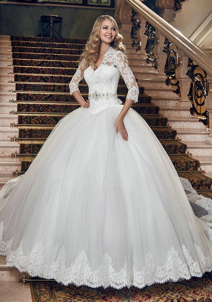 Classic Three Quarter Elegant Appliques Sparkly Sashes Robe De Mariage New Custom Made Plus Size 2015 Ball Gown Wedding Dress