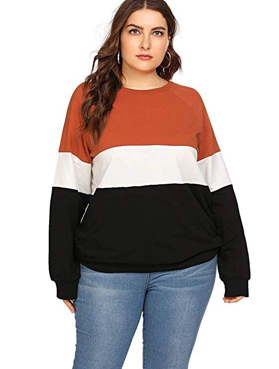96416e4f437 Romwe Women s Plus Size Colorblock Casual Long Sleeve Pullover Sweatshirt