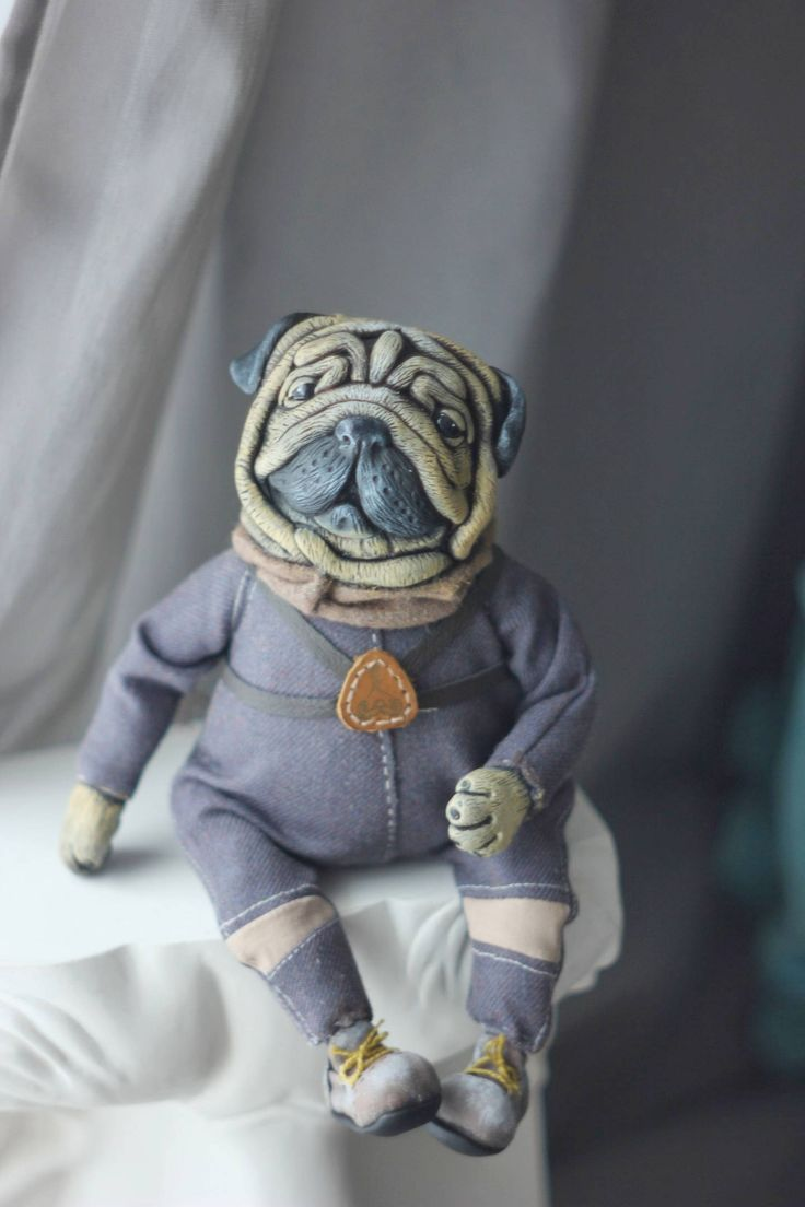 Made to order Pug stuffed toy handmade toy ooak toy artist toy whismical toy fog new year gift christmas gift