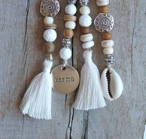 beachcomber key chain accessory white bohemian tassel choose cowrie shell or karma charm by beachcombershop