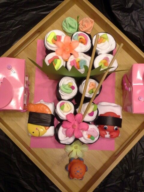 My sushi themed Diaper Cake for Baby Parker 7-28-13