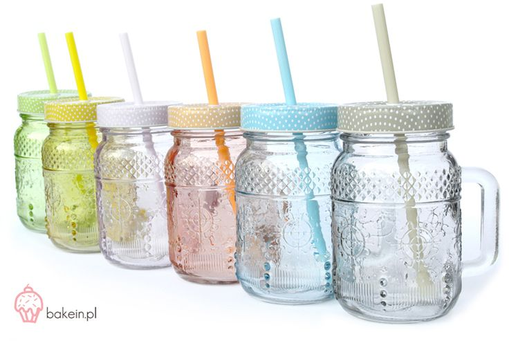 Bake in   Pastel Drinking Jars with Straws www.bakein.pl