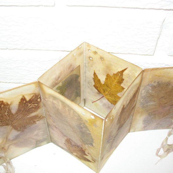 Eco Print Waxed Paper Decor Handmade Candle Holder Folded