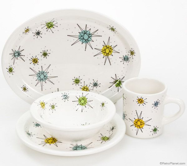 These Atomic Pattern Plateug Sport A Clic Satellite And All Are Dishwasher Safe Mug Is Microwave Four Piece Set Includes