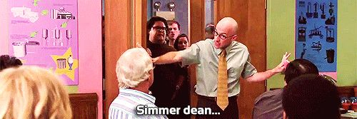"""Calming down Greendale students during registration for """"History of Ice Cream."""" 