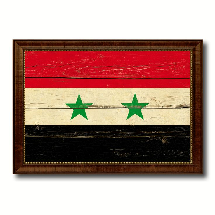 Syria Country Flag Vintage Canvas Print with Brown Picture Frame Home Decor Gifts Wall Art Decoration Artwork