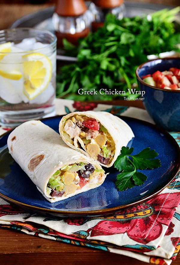 Garbanzo beans, shredded chicken, feta cheese, tomatoes, and cucumbers are rolled in tortillas for a quick Greek-inspired lunch. Greek Chick...