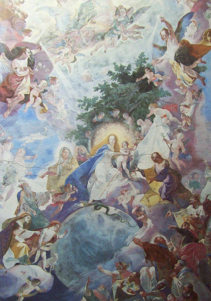 Josef Winterhalder ml. Nástropní freska v klášterním kostele Zábrdovice, detail 1782