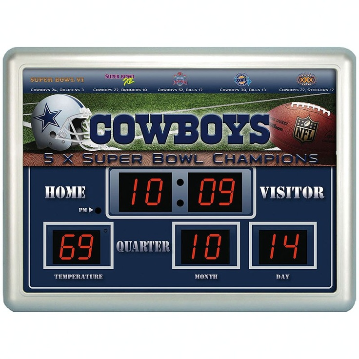 Dallas Cowboys Scoreboard with Time, Date and Temperature. Perfect gift for a man cave
