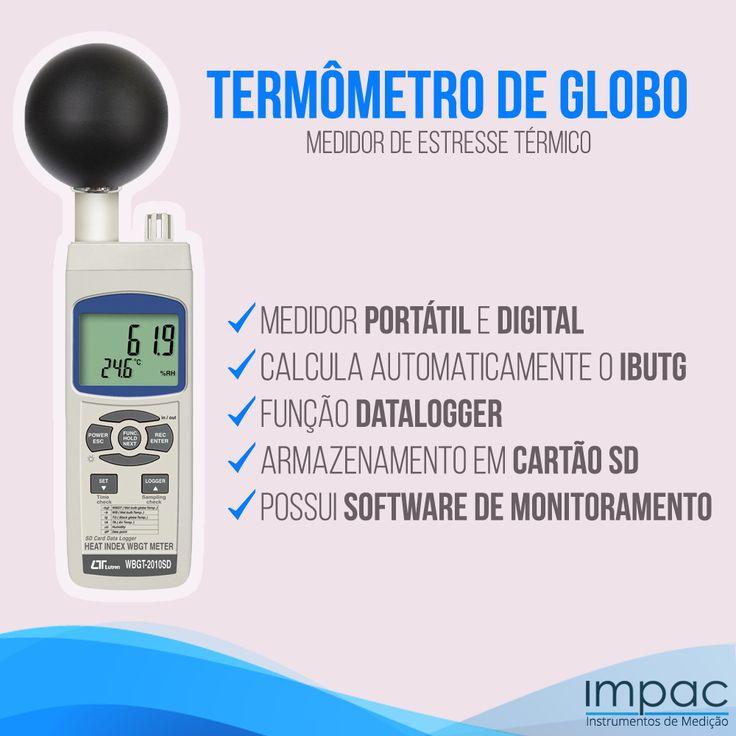 """O Termômetro de Globo com datalogger Lutron WBGT-2010SD é um termômetro especialmente projetado para medição e registro de maneira precisa do indíce IBUTG """"Indice de Bulbo Úmido Termômetro de Globo"""". O termômetro de globo Lutron é um instrumento indispensável para quem controla as atividades insalubres e limites de tolerância para a exposição de calor ou avalia tecnicamente os ambientes de trabalho quanto à Saúde Ocupacional em acordo com o que determina a norma NR-15 da ABNT."""