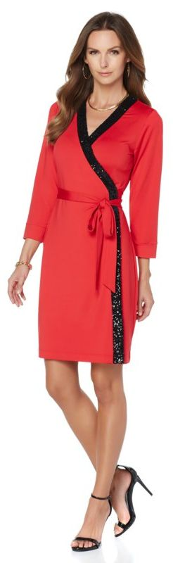 Still searching for the perfect holiday dress? Look no further than this fabulous sequin wrap dress by Wendy Williams! Available in black and red, you're sure to be a knockout at your holiday event! What would you wear this dress to? Do you have upcoming holiday parties that you're still prepping for?