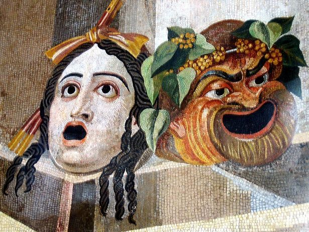 """Comedic and tragic masks or """"personae,"""" from Greece circa 500-300 B.C."""