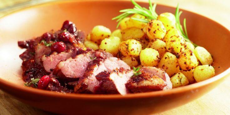 Boodschappen - Eendenborst met jus van cranberry en rode wijn