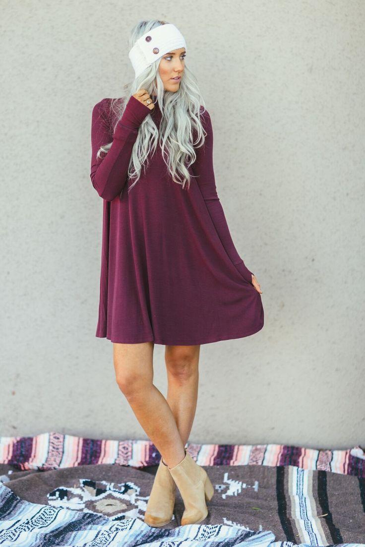 Long Sleeve Turtleneck Dress In Burgundy