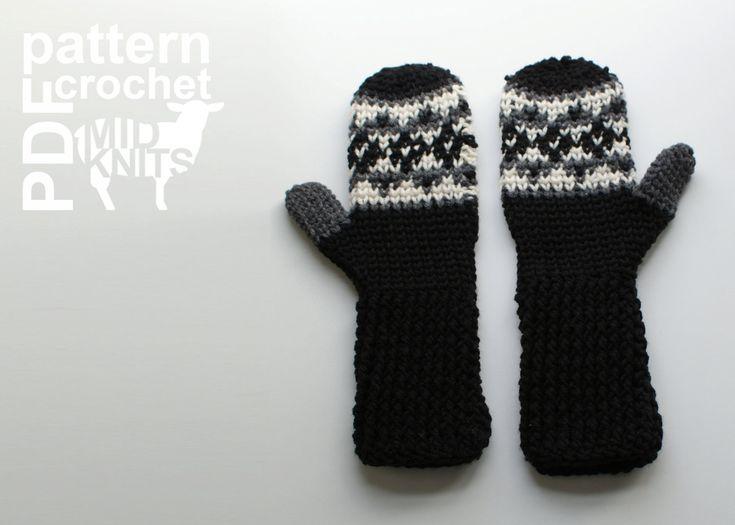 DIY Crochet PATTERN Fair Isle Crochet Argyle Mittens by Midknits