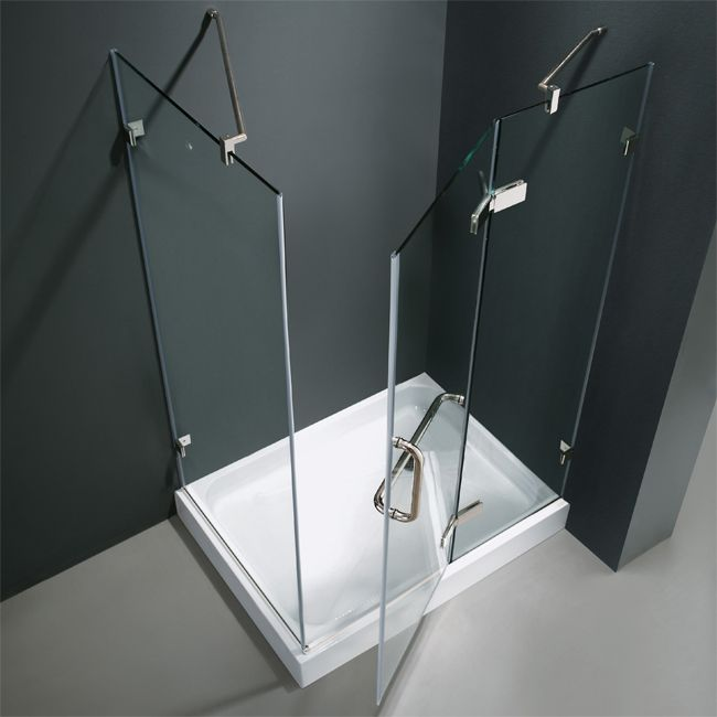 vigo 48 in x 79 in frameless pivot shower enclosure in chrome finish with clear glass this uniquely stylish and totally frameless enclosure with base