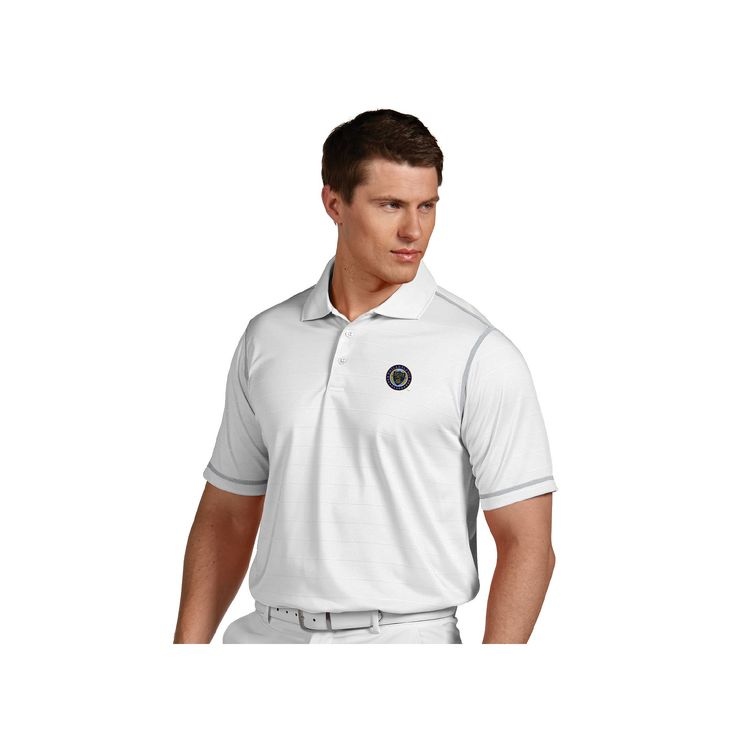 Men's Antigua Philadelphia Union Icon Desert-Dry Tonal-Striped Performance Polo, Size: Large, Natural