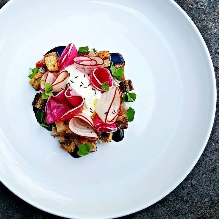 Roasted & raw beets watermelon radish whipped ricotta caraway by @cheflangdon13 - Food Plating