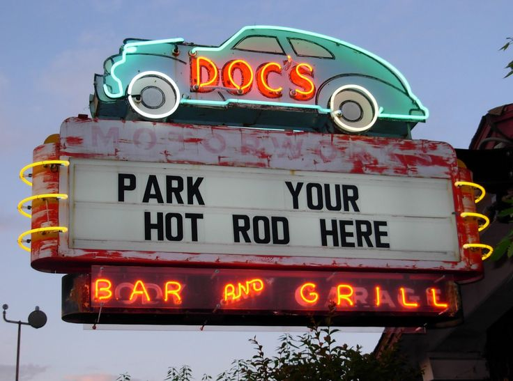 Doc's Bar & Grill neon sign in Hill Country, Texas, USA