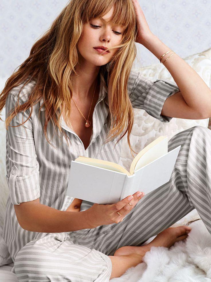 Victoria's Secret Dreamer Flannel Pajama in Grey/White Lurex Stripe (or City Girl Print/Red Plaid)