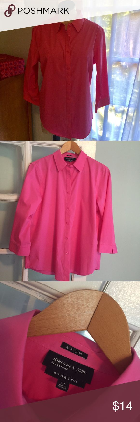 ❤️Lowest💲Donating❤Jones New York Pink Jones New York Pink Stretch Button Up Size L, in excellent pre loved condition, quarter length sleeves and cute lipstick pink color Jones New York Tops