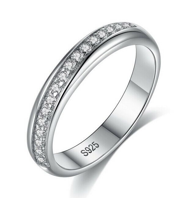 Women S 925 Sterling Silver Diamond Created Wedding Engagement Ring Band R188 Ebay In 2020 Band Engagement Ring Wedding Rings Engagement Engagement Rings