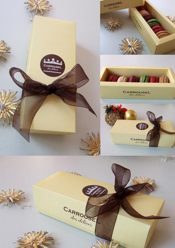 6 macarons într-o cutie trendy. Puteţi comanda şi voi.