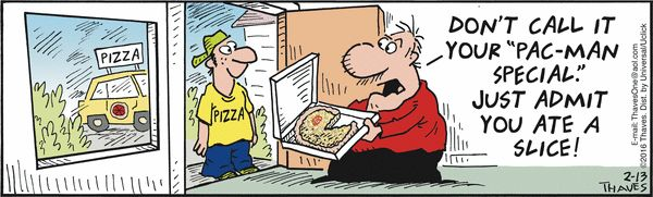 The old #PacMan game was named after Paku the eater who tastes everything like the pizza delivery driver in this #FrankAndErnest #comic. www.trynewfoods.blogspot.com