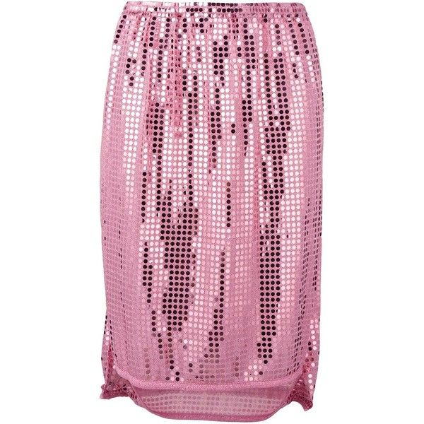 Pre-owned Comme Des Garçons Vintage sequinned skirt ($370) ❤ liked on Polyvore featuring skirts, pink, sequin maxi skirt, pink sequin skirt, long straight skirts, asymmetrical hem skirt and long sequin skirt