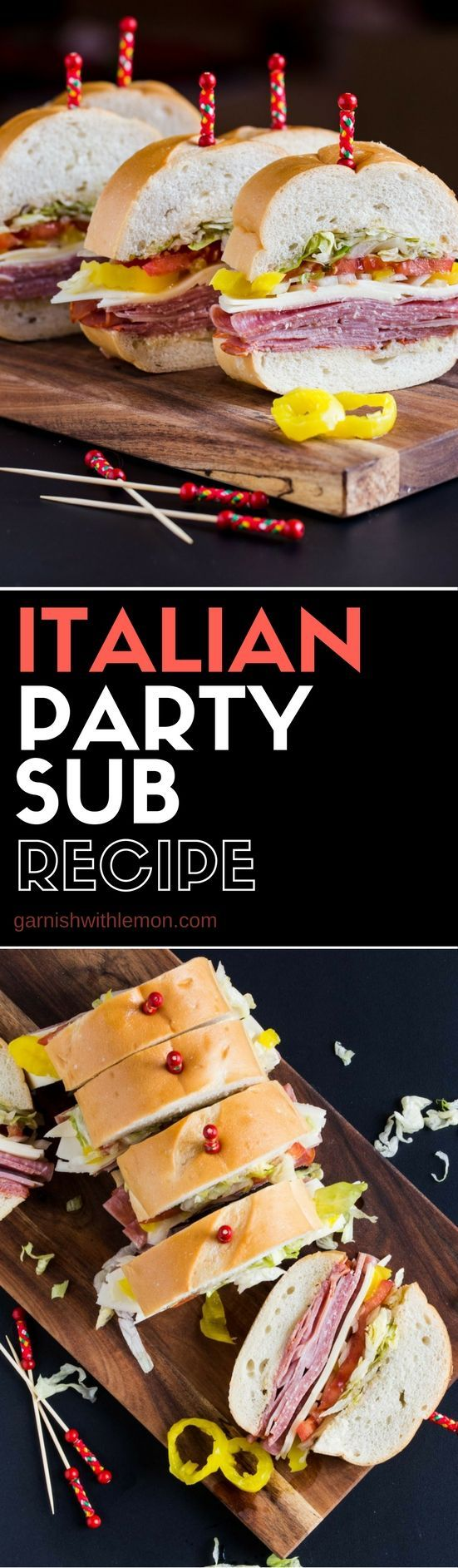 This easy Italian Party Sub recipe is perfect football food. Add it to your menu today!