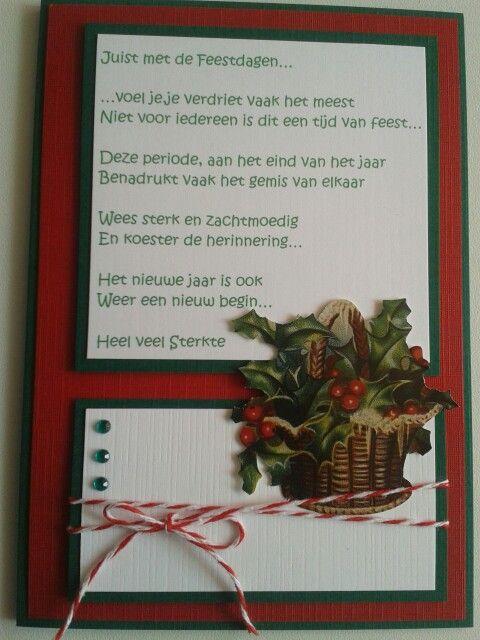 Kerstkaart met gedicht voor mensen die een dierbare hebben verloren...