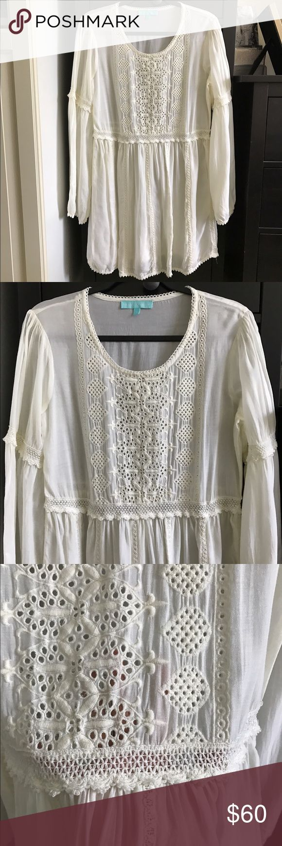 Melissa Obadash beach cover-up peasant dress Super cute embroidery detailing for an elevated beach look. Excellent used condition, no visible stains or snags. Melissa Odabash Dresses Mini