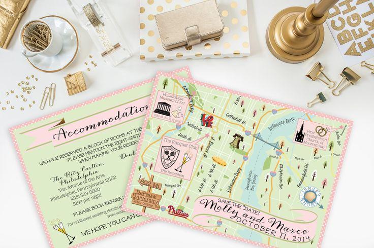Custom Wedding MAP- Any Location Available-Philadelphia Pennsylvania Map Pictured- Destination Wedding City Map- Wedding Map Directions FeatheredHeartPrints