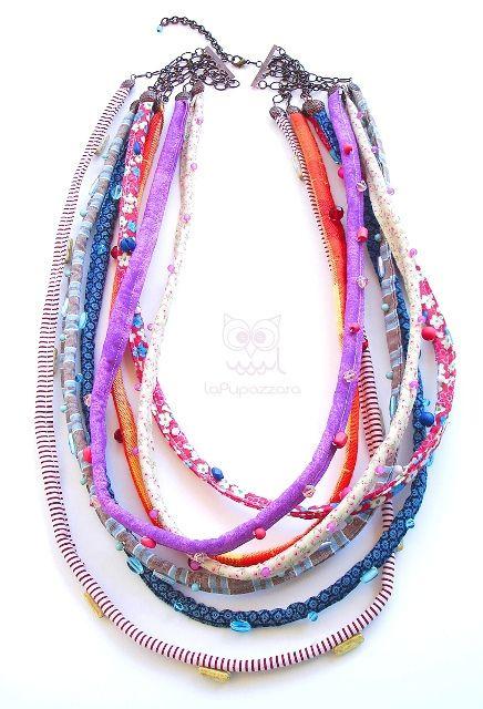 Collana di Stoffa e Perline Multicolore by La Pupazzara, via Flickr