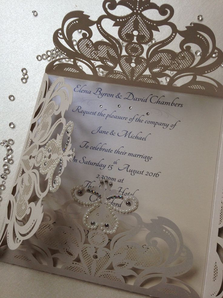 wedding invitations from michaels crafts%0A Ivory pearl laser cut wedding invitation embellished with diamante  u      pearls  hand made by Crafty