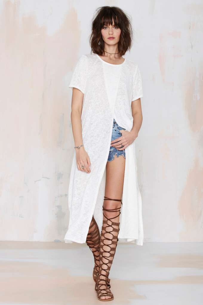 Take the long route in the tissue thin Cross In Maxi Tee.