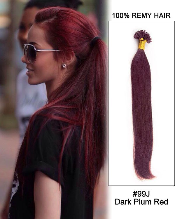 Best 25 keratin hair extensions ideas on pinterest extensions 16 99j dark plum red straight nail tip u tip 100 remy hair keratin hair extensionspre pmusecretfo Choice Image
