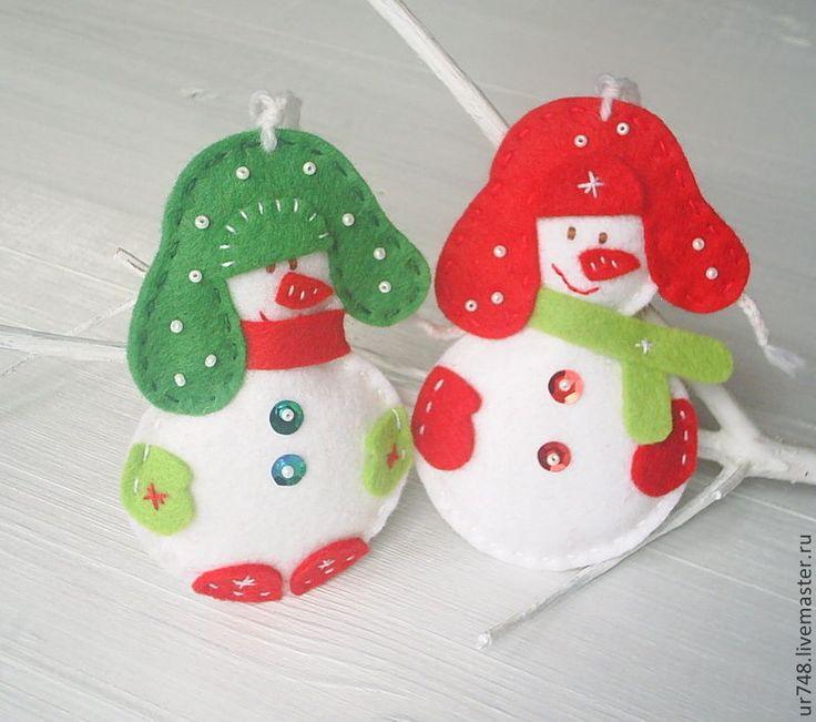 """Купить Елочные игрушки """"Новогодний снеговик """" комплект. - красный, белый, зеленый, елочные игрушки"""