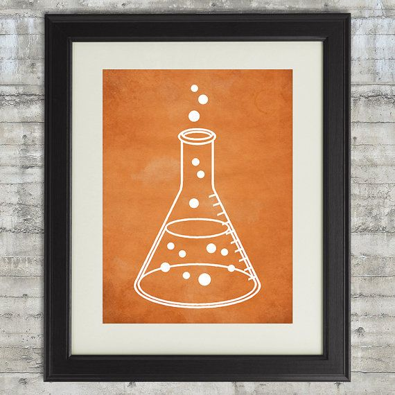 Science Art Printable with Erlenmeyer Flask for science themed bedroom or nursery