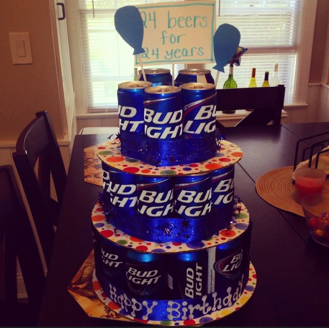 Beer Cake 24th Birthday 24 Beers For Years 12oz Cans And Azulitas Platters Ribbon