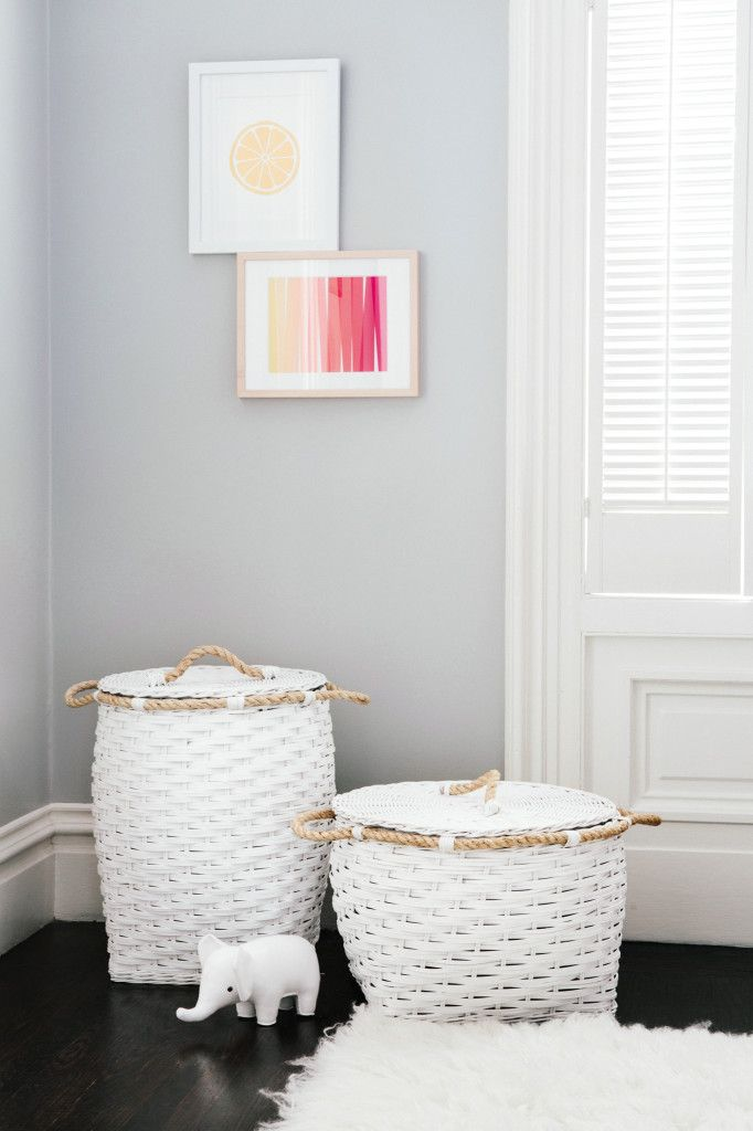 Project Nursery - serena & lily white storage baskets