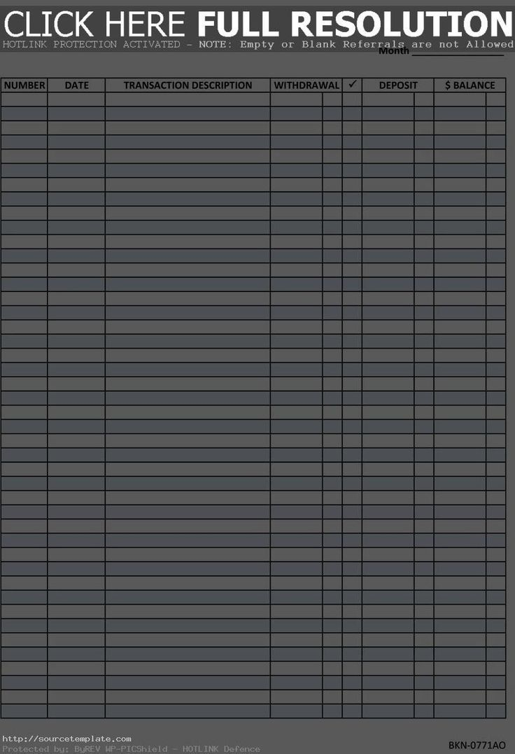 blank check register template pdf Herrlich Free Blank