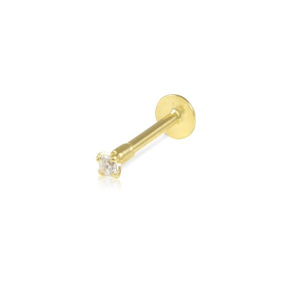 14K Solid Yellow Gold Cubic Zirconia Round Lip Stud Ring 16g