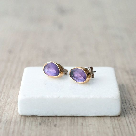 Amethyst Gold Earrings 22 Karat Gold and Sterling by SunSanJewelry