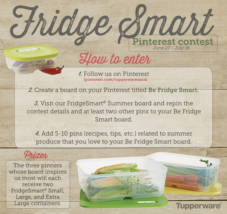 WIN a set of six FridgeSmart® containers! This promotion is in no way sponsored, endorsed or  administered by, or associated with, Pinterest. No purchase  necessary. Open to legal residents of the fifty (50) United States, the District of Columbia and Canada. Contest  begins June 27, 2014 and ends July 16, 2014.