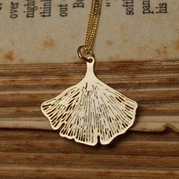 Pigeonhole Gingko Gold Pendant Necklace